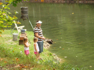 Fishing with the kids at Pappy's Cabin and Pond!